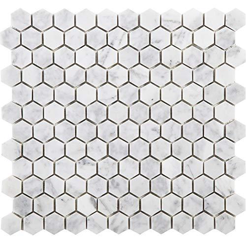 Diflart Bianco Carrara Weiß Marmor Sechseck Mosaik Fliese 2,5cm Poliert Neu -