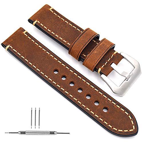 Guarda Cinturino Orologio in Pelle da Uomo Cinturino di Ricambio Moda Cinturino per Bracciale Sport Cinturino con Accessori Cinturino da Polso(Marrone 24mm)