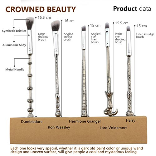 Wizard Wand Makeup Brush set, Wizardry and Witchcraft Eyeshadow Brushes with Faux Leather Makeup Brush Cover (Treasure Map) Best Christmas Gift