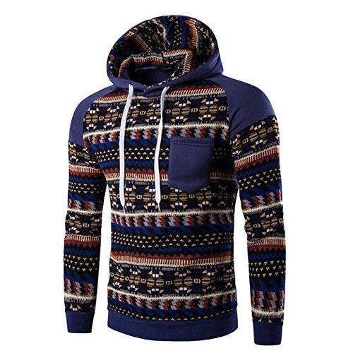 Bold Manner Pull à Capuche Hoodie Pullover T-shirt Manches Longues Sweat-shirt Homme Slim Fit Blouson Veste Tricot Bohême Bleu FR 48(Tag L)