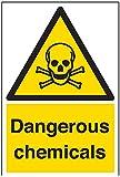 vsafety Schilder 6a018au-s Gefährliche Chemikalien Achtung Substanz und chemischen Schild, selbstklebend, Portrait, 200mm x 300mm, schwarz/gelb