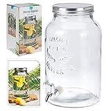 Getränkespender Bowlegefäß Rumtopf Retro, Glas mit Schraubdeckel und Auslaufhahn, ca. 5.5 l, ca. 30.5 x 18 c
