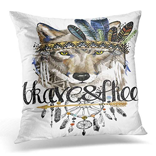 Fundas para almohada Wolf American Indian Chief Headdress War Bonnet Dream Catcher Native Animal Brave...