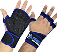 XPOWER High Quality Gym Gloves with Wrist Wrap & Full Palm Protection, Ultra Ventilated Exercise Gloves fo