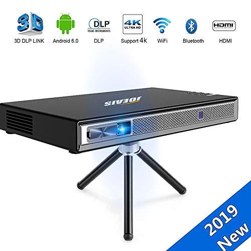 JOEAIS Mini Beamer, Mini Projektor Android WiFi Bluetooth 200ANSI Lumens Unterstützung 1080P 4K 3D-DLP-LINK, Kompatibel mit TV-Stick/PS3/PS4/HDMI/USB/TF/Laptop/Smartphone