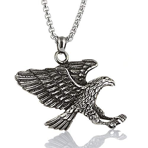 Bishilin Edelstahl Halskette Herren mit Anhänger Adler Silber Kette Partnerketten für Männer