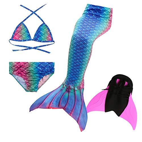 Le SSara 2018 Neue Mädchen Meerjungfrau Tails Bikini Badeanzug setzt 4 Stücke Bademode mit Flosse für Schwimmen Cosplay Partei (110, DH59-Pink)
