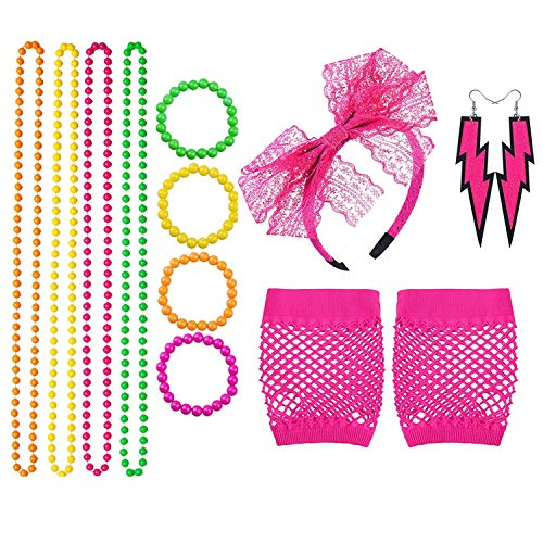 Topways® 80s Partei Kostüm Zubehör Set, 80er Fancy Dress Mädchen Frauen Night Out Party Kleid Neonhalsketten, Armbänder, Netzhandschuhe, Spitzenschleifen Stirnband und Neonohrringe (Pink)