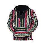 virblatt - Poncho Baja Hoodie goa Jacke Jerga Ethno Pullover Baja Jacke Herren Mexican Hippie Kleidung - Rotterdam CFL XL