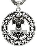 Einzigartige Kreis Wikinger Viking Anhänger Kette Antik Silber Thor Hammer Thorhammer