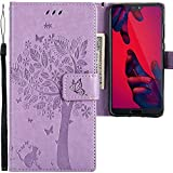 CLM-Tech Huawei P20 Pro Hülle, Tasche aus Kunstleder, Baum Katze Schmetterlinge lila, PU Leder-Tasche für Huawei P20 Pro Lederhülle