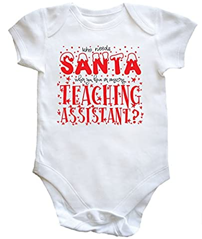 HippoWarehouse Who Needs Santa When You Have an Amazing Teaching Assistant baby vest boys girls