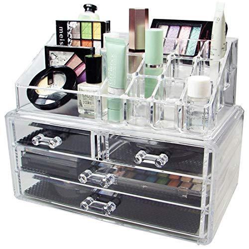 PrimeBox 4 Drawer Plastic Cosmetic Makeup Box | Jewellery Box | Lipstick Storage Organizer Box | Makeup Tools Holder | Cosmetic Storage Box | Multi Functional Drawer Makeup Organizer (Transparent-Acrylic)