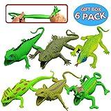 Jouets Lézards, 9 pouces en caoutchouc (6 sacs), Caoutchouc Alimentaire de Qualité Médicale , Boîte Cadeau - Figure Lézard Ressemblant Jouet Souple Baignoire - Gecko Iguane Chameleon Komodo Dragon
