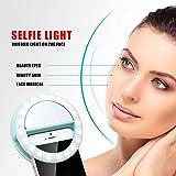 Luniquz 36LEDs Ring Selfie Flash Leucht Telefon Zusätzliche Beleuchtung 3 Stufen der Helligkeit, Powered by Batterien, Kompatibel mit Android und IOS (weiß)