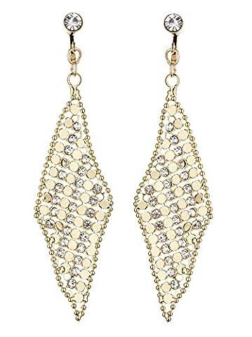 Ohrclips - Vergoldete mit klaren Kristallen - Daisy G von Bello London