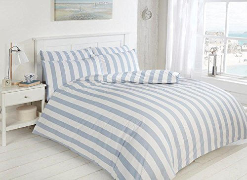 EASY CARE Morley Stripe Bed Set, Blue and White, Luxury 200tc Duvet and Pillowcase (Double)