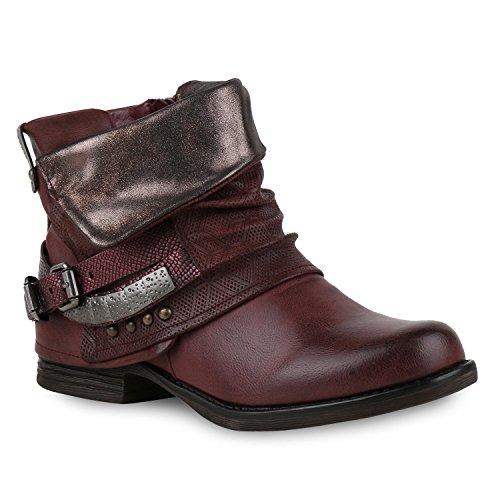 Damen Biker Boots Used Look Metallic Stiefeletten Nieten Schuhe 132458 Dunkelrot Nieten Carlton 42 Flandell