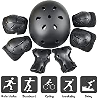 JIM'S STORE Kid's Protective Gear Set Adjustable Helmet, 7pcs Advance Knee Pads Elbow Pads Wrist Protector for Scooter Cycling Roller Skating Skateboard