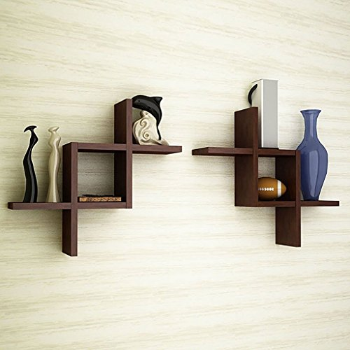 Artesia Brown Wooden Wall Shelf Set Of Two/ Wall Shelves