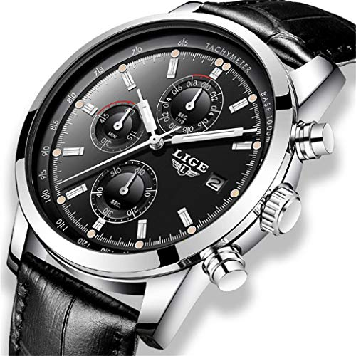 LIGE Herren Uhr Schwarz Edelstahl Wasserdicht Quarz Analog Armbanduhren mit Chronograph