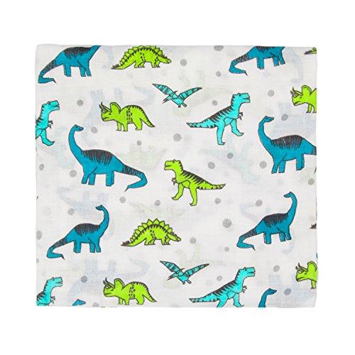 Super Weich Baby Musselin Swaddle Wrap Decke für Jungen und Mädchen-100% Musselin Baumwolle Swaddle & Empfang von Decken 110cm x 110cm (43 Zoll x 43 Zoll) für Babys Säuglinge Kleinkinder Neugeborene(Dinosaurier) (Dinosaurier Musselin Decke)