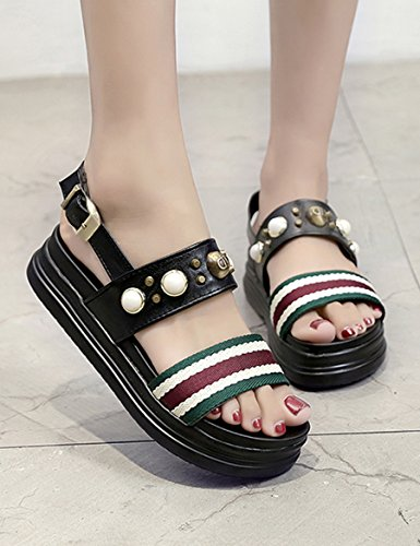 Nouvelles sandales à semelles douces d'été Sandales grillées à perles fines et féminines Sandales à chaussures plates étudiantes ( Couleur : #2 , taille : EU39/UK6.5/CN40 ) #1