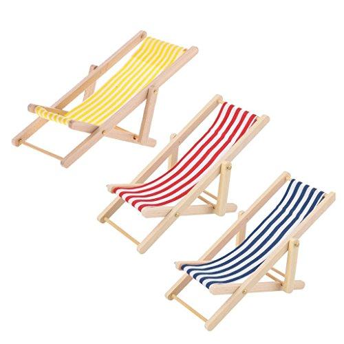 sgerste 3Puppenhaus Miniatur-Möbel Garden Beach Stripe Deck Klappstuhl