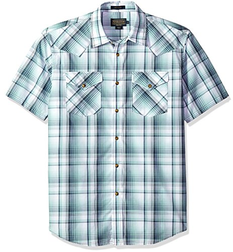 Pendleton Men's Short Sleeve Button Front Frontier Shirt, Mint Blue Plaid, MD (Frontier Mint)