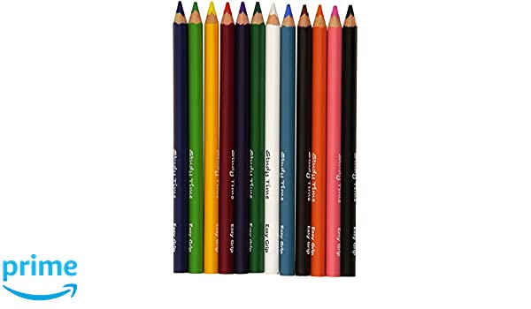 pack Of 12 Study Time Jumbo Triangular Pencils - 12 Easy Grip Assorted