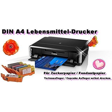 Impresora de alimentos DIN A4 con cartuchos de alimentos para papel fondant, papel de azúcar, papel de tortitas o decoración de