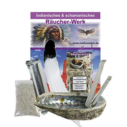 9-tlg Smudge Kit Räucherset INDIAN-SPIRIT | Abalone Räuchermuschel 12-16cm + schamanische Räuchermischung + Feder + Zange + Kohle + Anleitung + Zubehör | 81091
