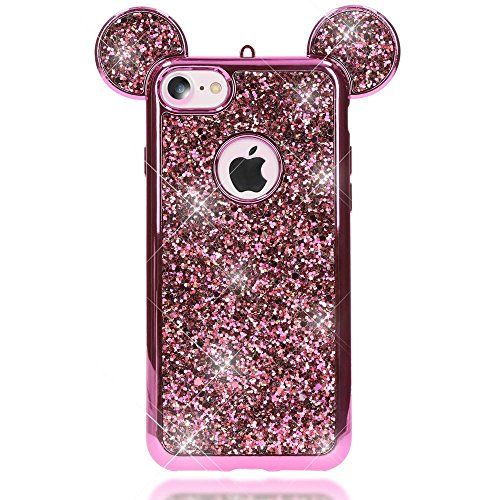 iPhone 8 / 7 Hülle Handyhülle von NICA, Glitzer Slim Back-Cover Case mit Maus Ohren, Glitter Silikonhülle Schutz Dünnes Strass Bling Etui, Handy-Tasche Bumper für Apple iPhone-7 / 8, Farbe:Rose Gold Pink