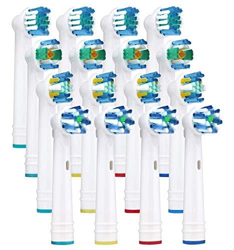 16 Stück Aufsteckbürsten Ersatzbürsten Ersatz Zahnbürsten mit Braun Oral B elektrische Zahnbürsten beinhaltet 4er Precision Clean, 4er Floss Action, 4er Cross Action, 4er 3D white -