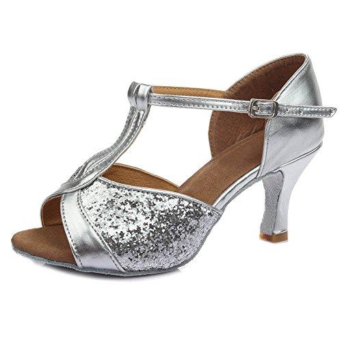 Scarpe Argento Donna da 7CM Scarpe Modello latino standard da ballo ballo Ballroom IT259 Raso HIPPOSEUS xTgWwHqF1q
