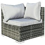 Hansson Polyrattan Gartenmöbel Lounge Set Sitzgruppe Garnitur Poly Rattan inkl. Sofa Sessel Kissen Hocker Tisch mit Glas (1 x Ecksofa)