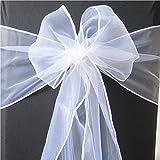 50Organza Stuhl Schärpen für Hochzeit breit Schleife umfassende für Stuhl Dekoration in die Geburtstag Party Events, durch trimmen Shop weiß