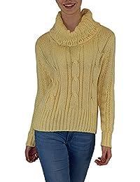 Damen Schalkragen grobstrick Pullover mit tollem Strick- Zopfmuster Gr.: S/ M (34-38), L/ XL (40-42)