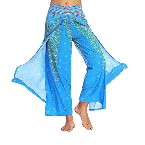 Damenbekleidung Haremshose Pumphose Hose ♥ Loveso♥ Blumenmuster Lange Hose Damen Haremshose Boho Hippie Hose Blumenmuster Yoga Hose (Kleid Long Knit Floral)