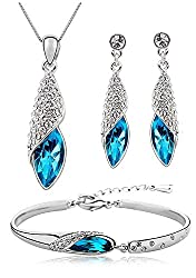 Shining Diva Fashion Blue Crystal Combo Of Pendant Necklace Set With Earrings And Bracelet For Women