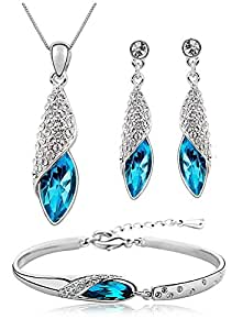 Shining Diva Fashion Blue Crystal Pendant Necklace Jewellery Set With Earrings and Bracelet For Girls and Women