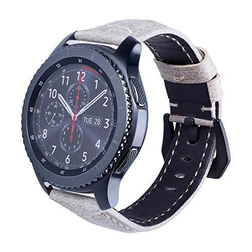JiaMeng Reemplazo Pulsera de Banda Artificial Cuero Correa Reloj de Cuero Correa de muñeca Correa de Reloj para Samsung Gear S3 Reloj Inteligente(Blanco)
