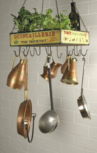 Vintage French Hanging Rack Pots & Pans Holder & Herb/plant Tray