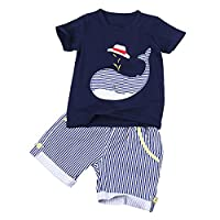 TiaoBug 2PCS Little Boys Summer Outfits Whale Pattern Cotton T-shirt with Striped Shorts Set Dark Navy 7-8 Years