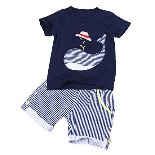 YiZYiF Niedlich Kinder Baby Jungen Bekeleidung Set Kurzarm T-Shirt Tops + Hosen Shorts Kleidung Outfits 2-7 Jahre Dunkel Marineblau 2 Jahre