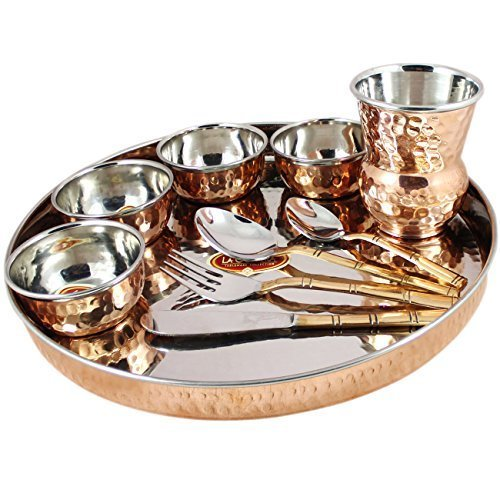 Indian Dinnerware Set Copper Stainless Steel Thali...