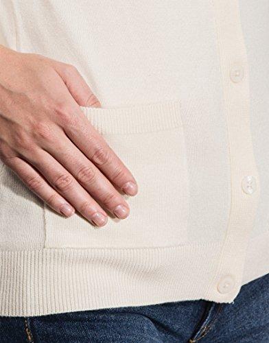 Vincenzo Boretti Damen Strickjacke Rundhals Ausschnitt R-Neck modern elegant chick edel weich Cardigan Strick-Pullover aufgesetzte Taschen Ecru