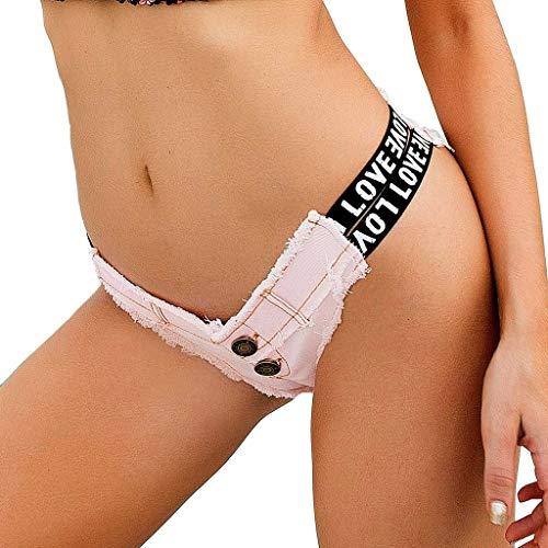 Geilisungren Damen Jeans Shorts Kurze Denim Hose Low Waist Hot Pants Frauen Sommer Party Nacht Club Ausgefranste Seil String Mini Jeanshose Beachshort - Party-hosen