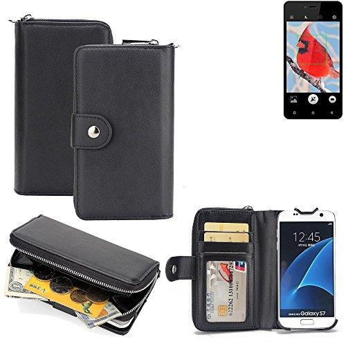 K-S-Trade 2in1 Handyhülle für Allview V2 Viper i4G hochwertige Schutzhülle & Portemonnee Tasche Handytasche Etui Geldbörse Wallet Case Hülle schwarz