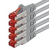 1aTTack CAT6 CAT 6 Netzwerk-Patch-Kabel SET (5 Stück) 50cm 0,5 Meter - SFTP - doppelt geschirmt PIMF + GEFLECHT - Twisted Pair mit 2 x RJ45 Stecker und vergoldeten Kontaktflächen - grau